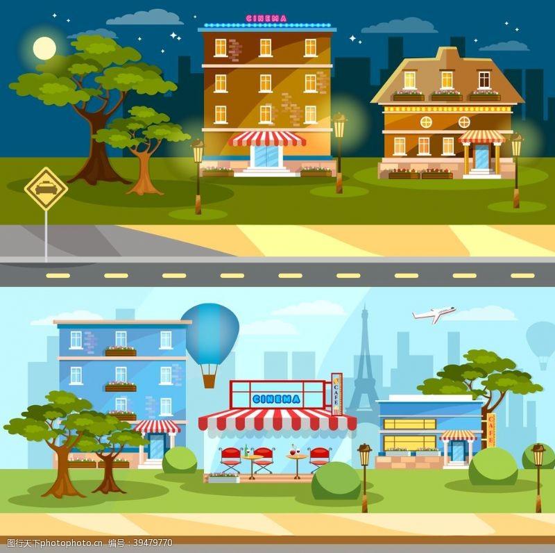 扁平化卡通街道图片