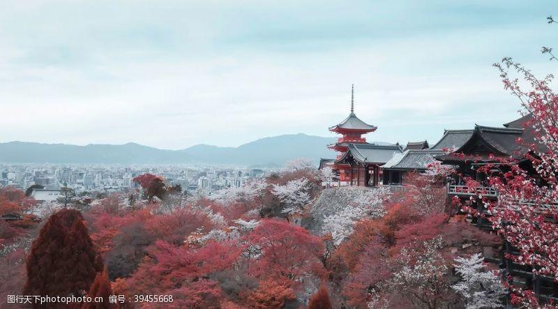 凉亭中式复古建筑背景海报素材图片