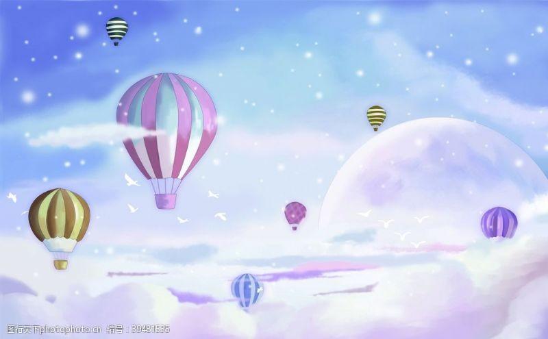 热气球背景墙图片