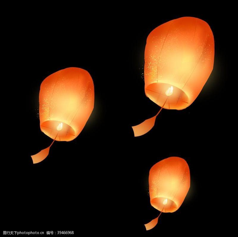 手绘中元节祈福孔明灯图片