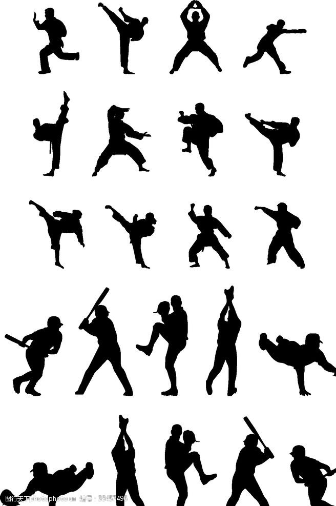 跆拳道武术人物剪影图片