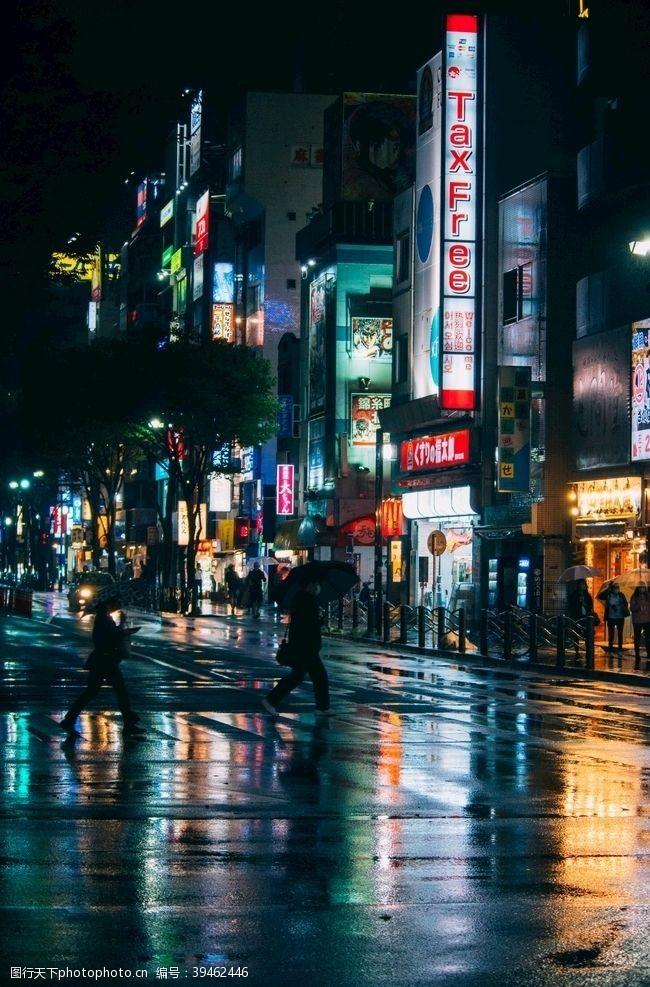 日本旅游城市街道夜景图片