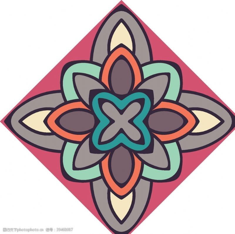 欧式花纹古典少数民族花纹底纹矢量图片