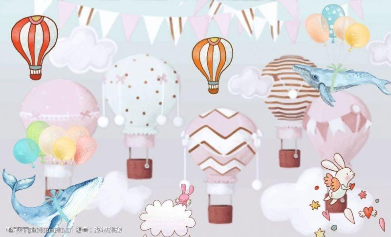 热气球可爱背景图片