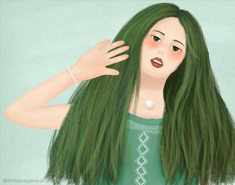绿头发的小女孩图片
