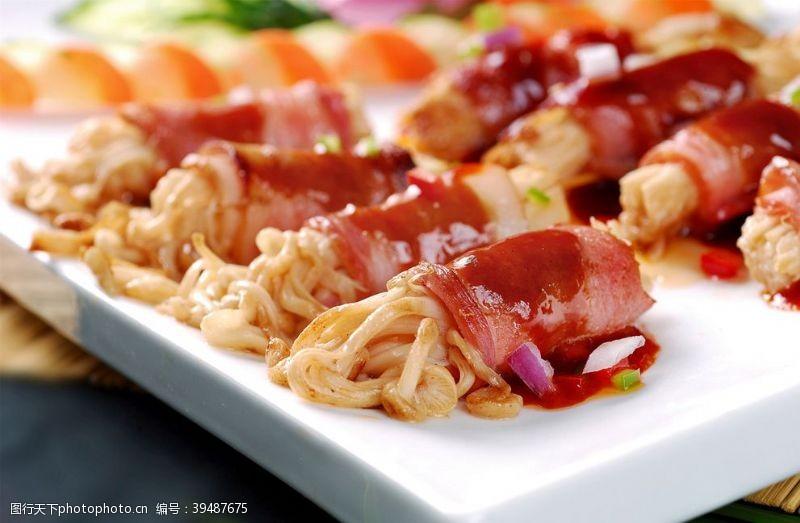 餐饮培根金菇卷图片