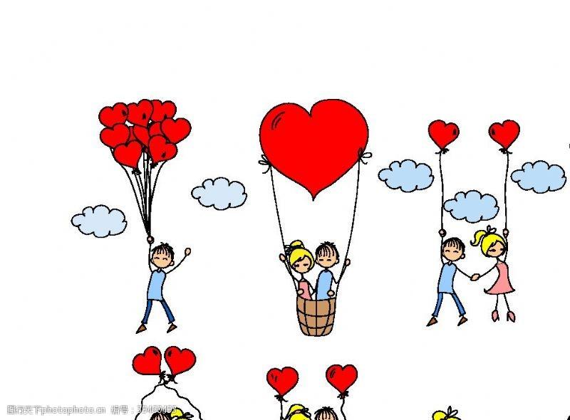 热气球情人节甜蜜情侣图片