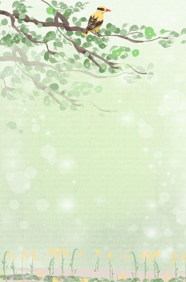 春天的背景森系植物清新背景图片