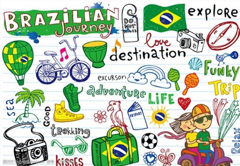 热气球手绘风格巴西元素图片