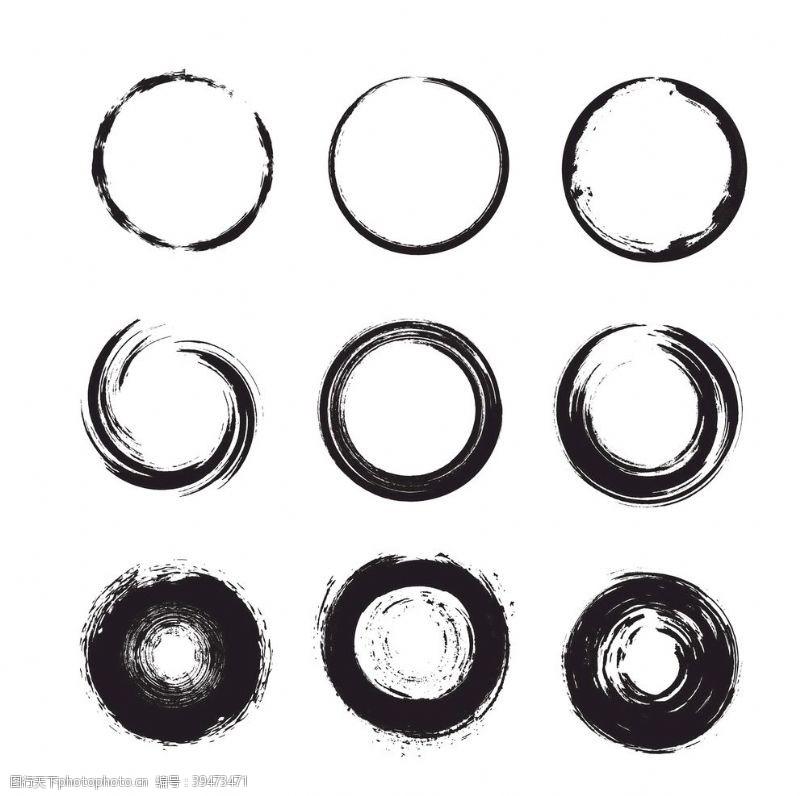 中式古典水墨圆形底纹图片