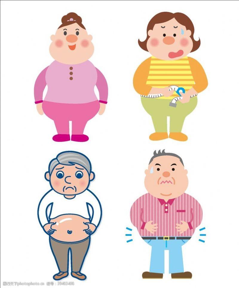 肥胖人士卡通图片