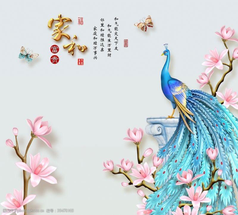 分层家和富贵玉兰孔雀蝴蝶图片