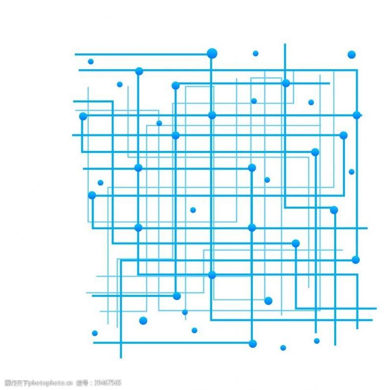 蓝色线条圆点科技感背景图案图片