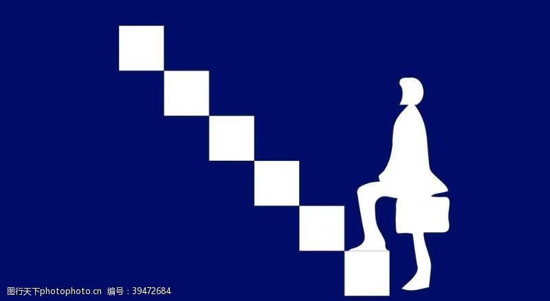 上台阶的职业女性素材图片