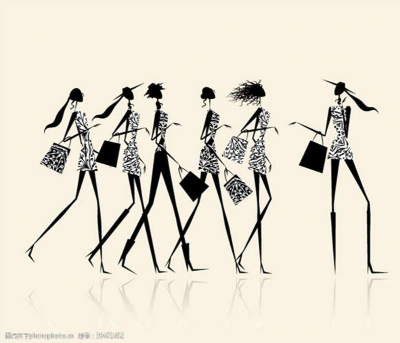 时尚购物女孩矢量图片