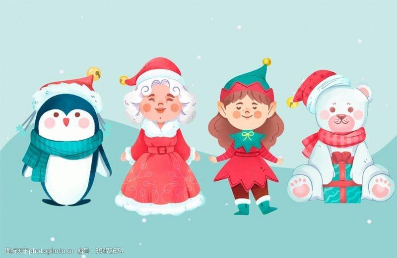女孩微笑圣诞节角色图片