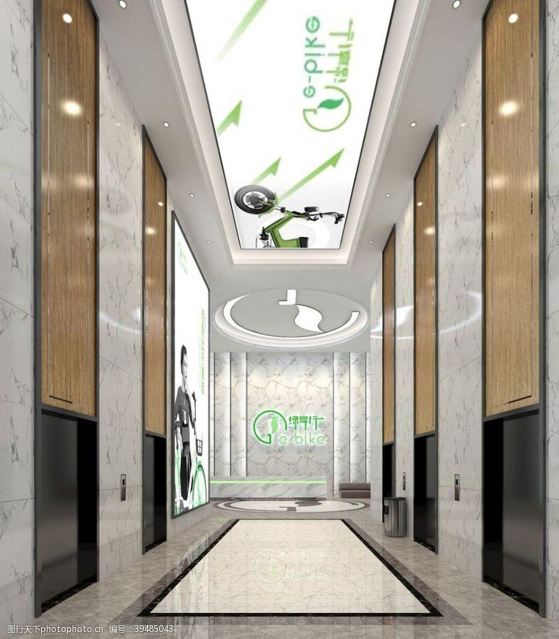 地产现代科技公司电梯厅效果图图片