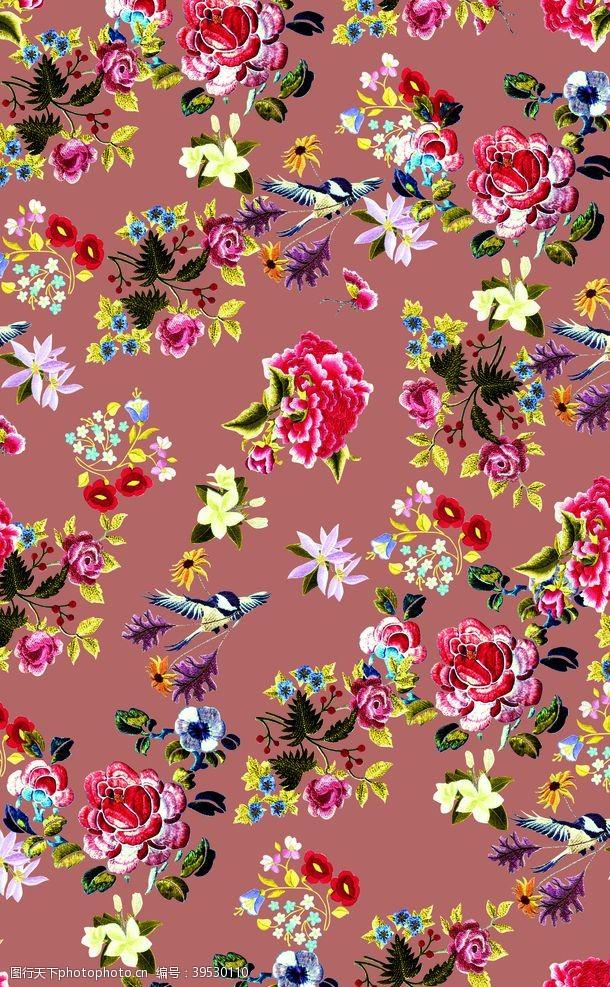 花型一堆绣花图片