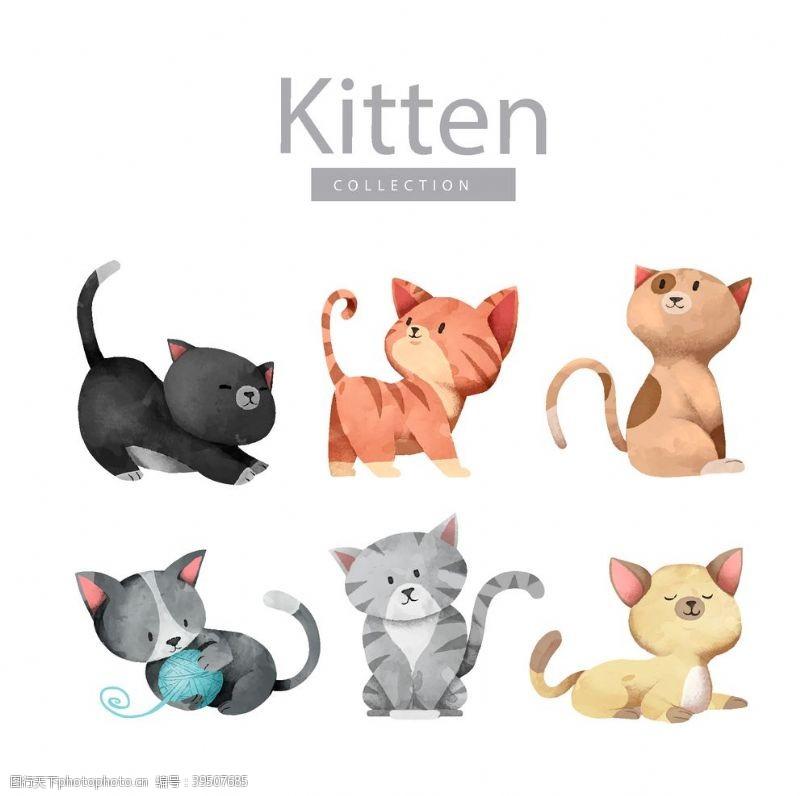 创意猫咪漫画元素图片