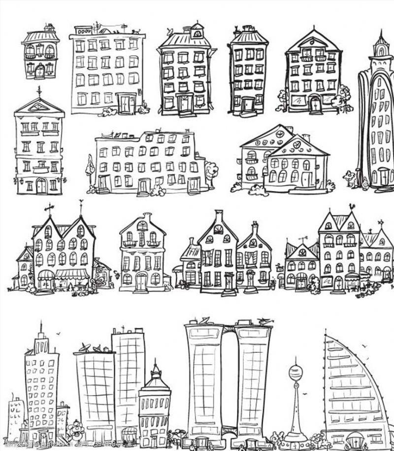 城市建筑建筑速写图片