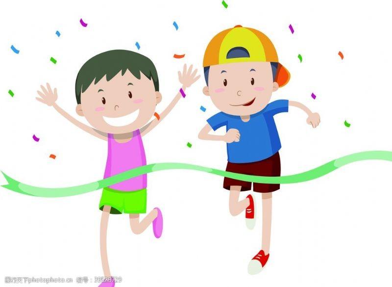 跑步运动卡通跑步男孩图片
