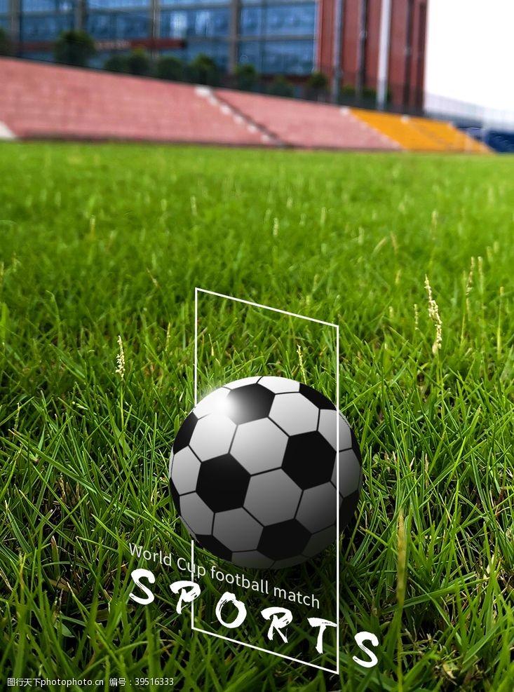 合成青草地上的足球图片
