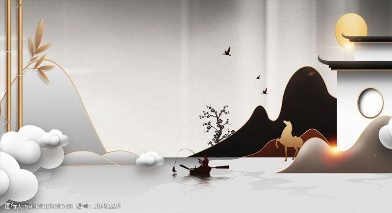 意境新中式山水鎏金仙鹤背景图片