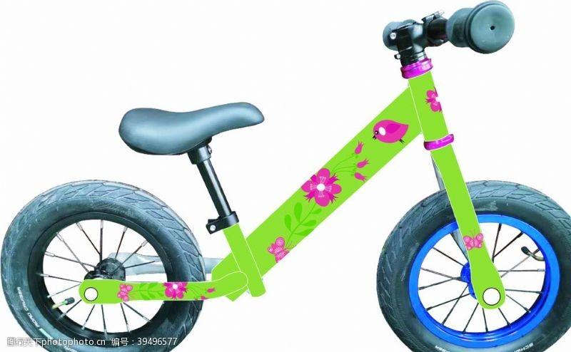 自行车学步车绿花图片