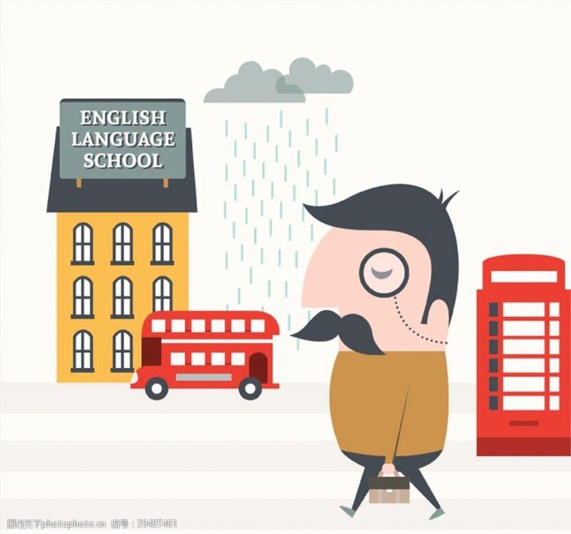 电话亭英语学校插画图片