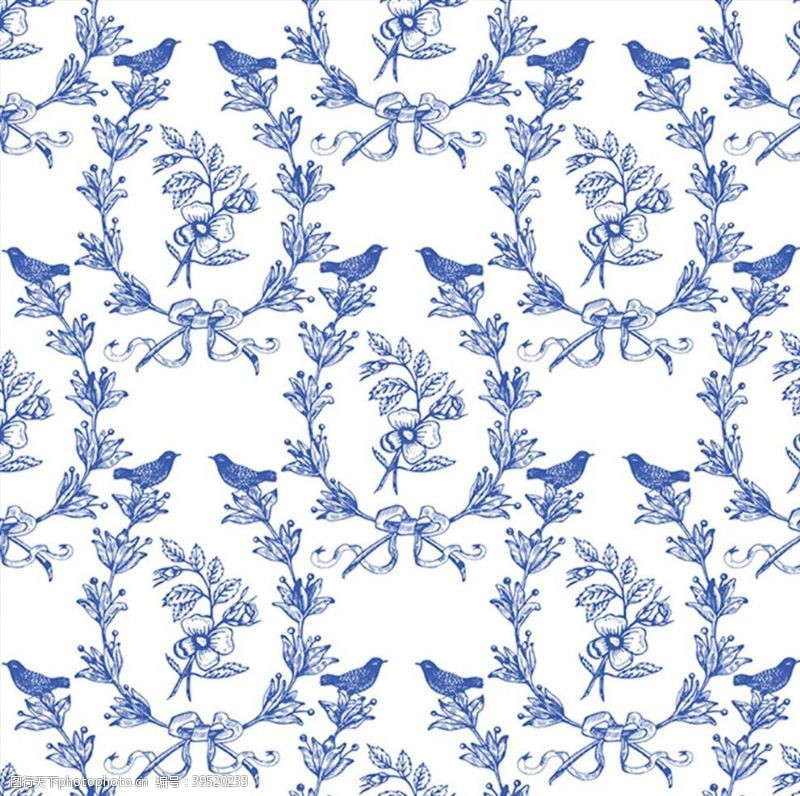 小鸟插画花鸟画底纹图片