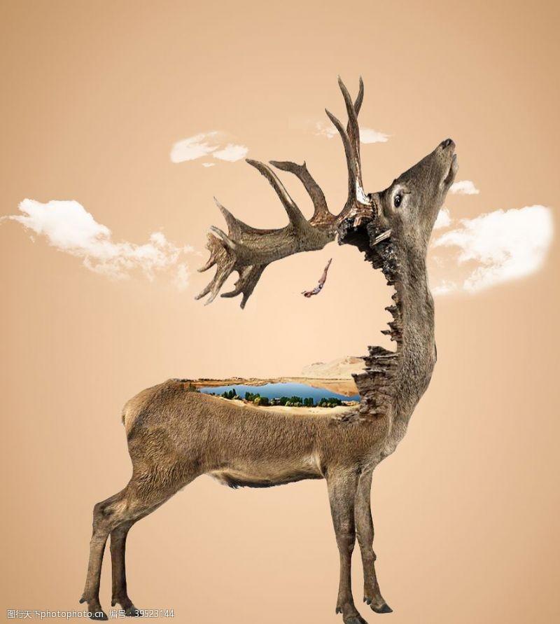 制作广告鹿创意合成跳跃云朵图片