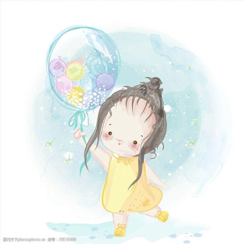 水彩手绘女孩图片