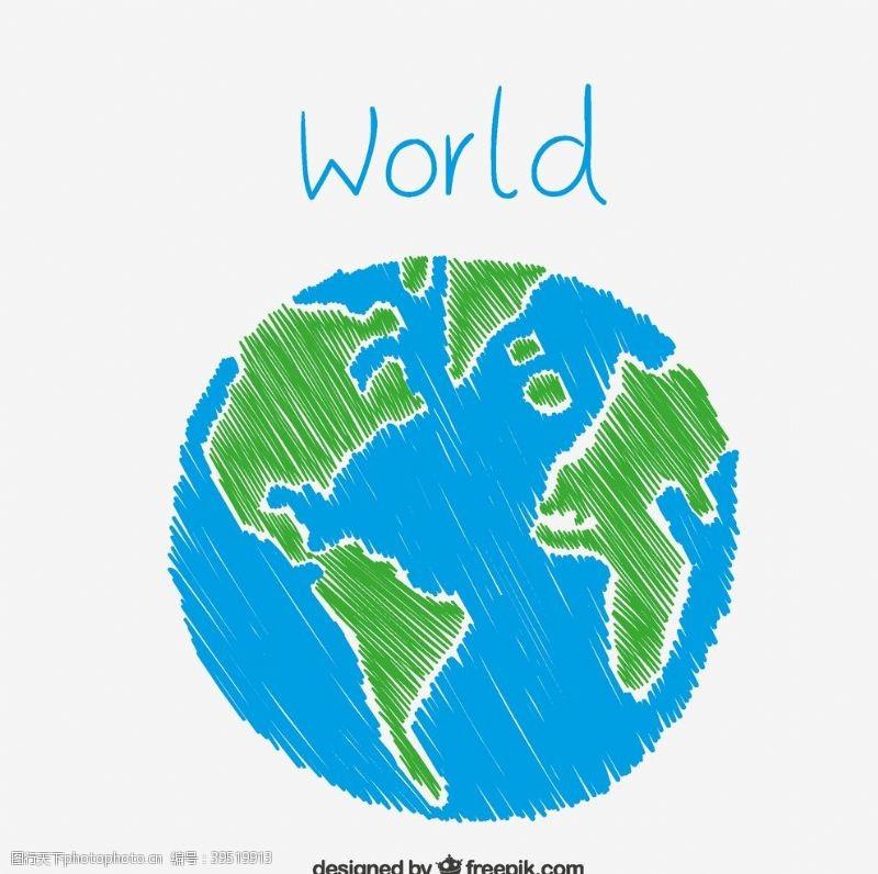 彩绘地球彩绘蓝色地球图片