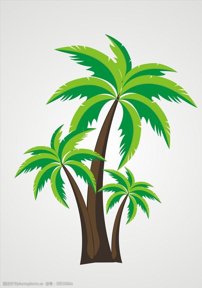 充电宝矢量椰树元素设计图片