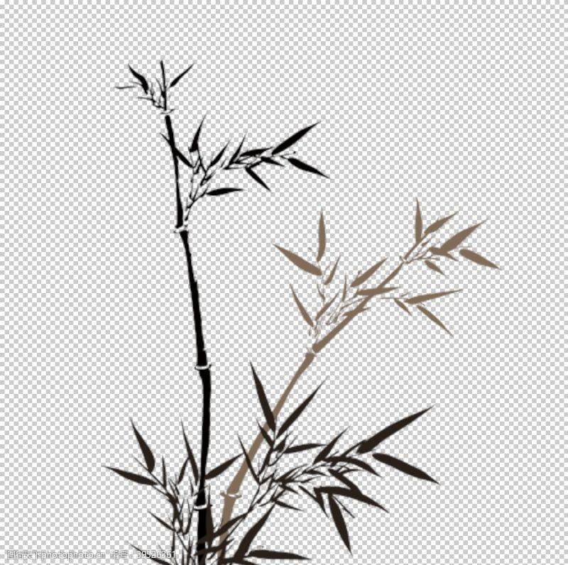 江水水墨竹子图片