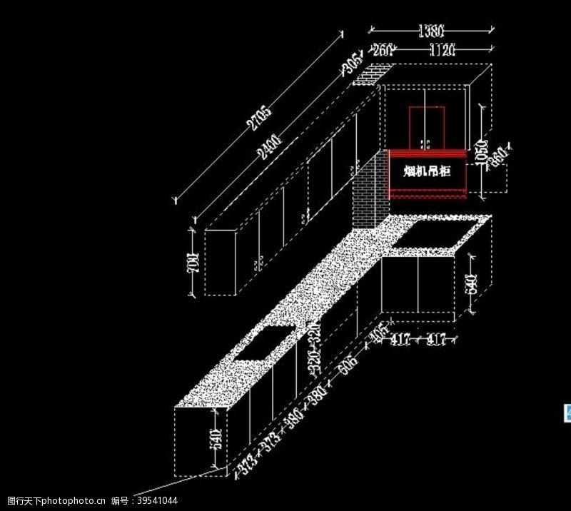 cad素材L型橱柜设计图片