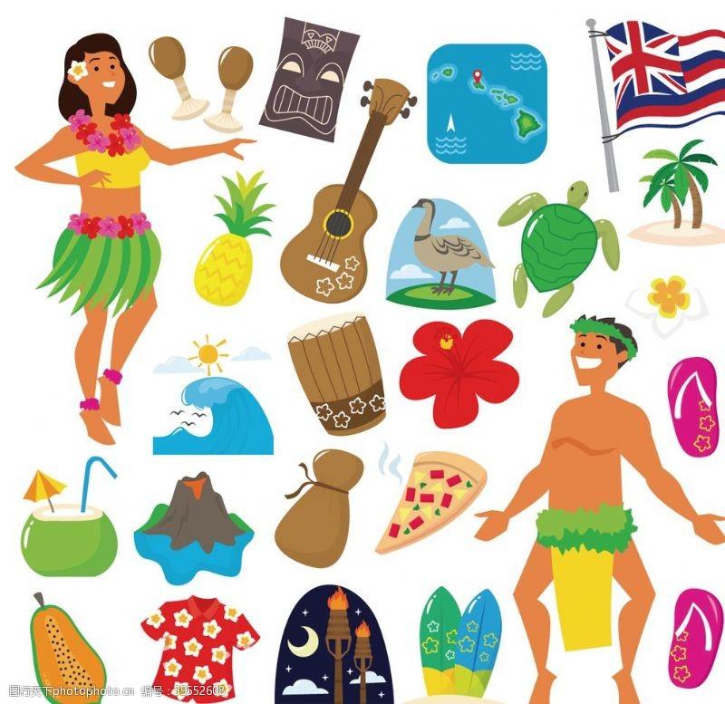 人字拖夏威夷沙滩度假图案图片