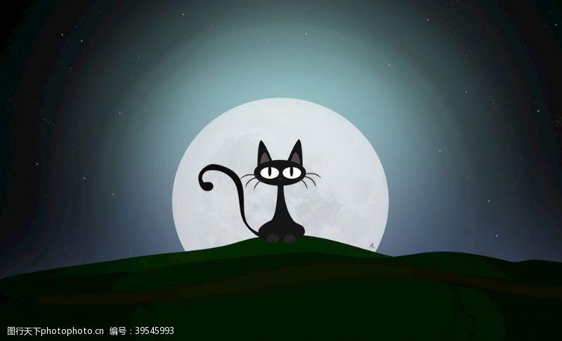 卡通月亮装饰画图片