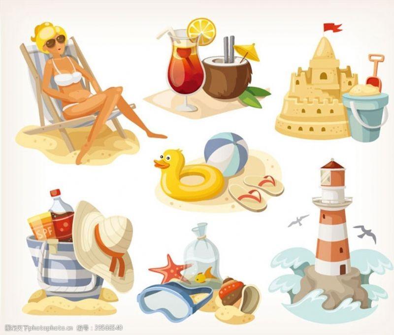 沙堡暑假沙滩元素设计图片