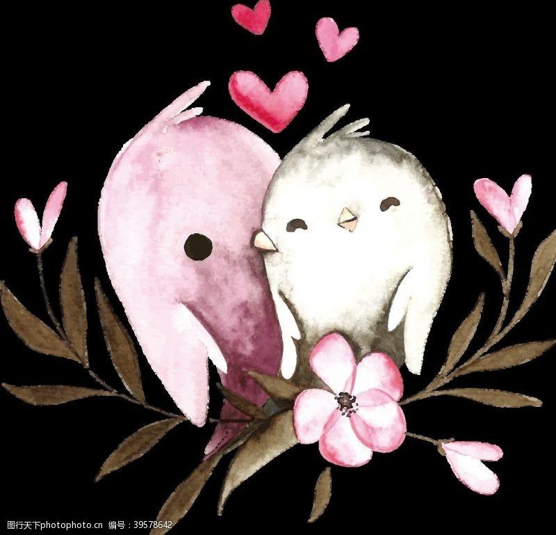 水彩爱情鸟图片