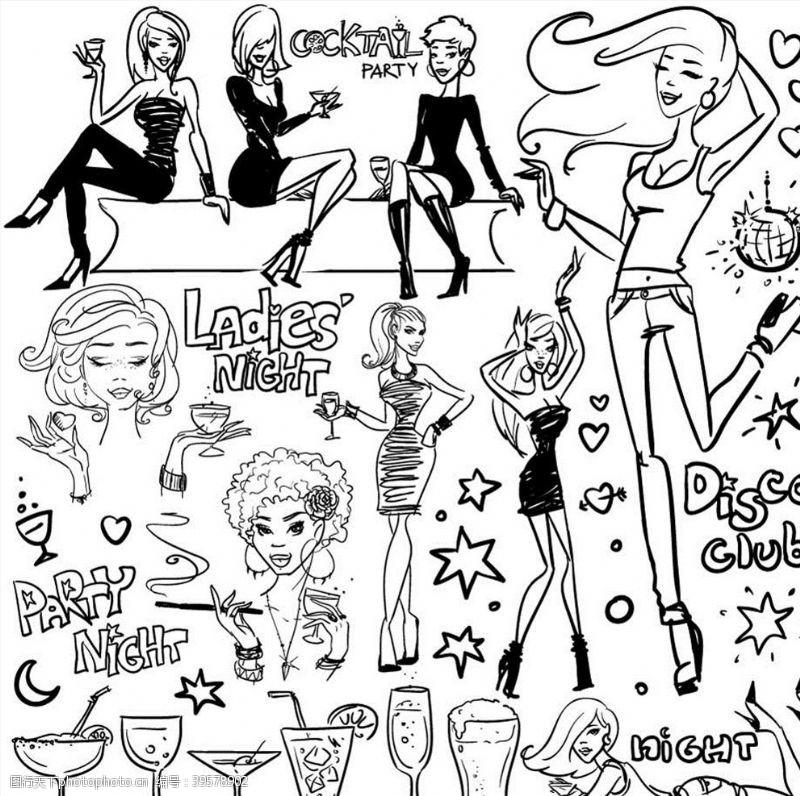 迪斯科卡通女人图片