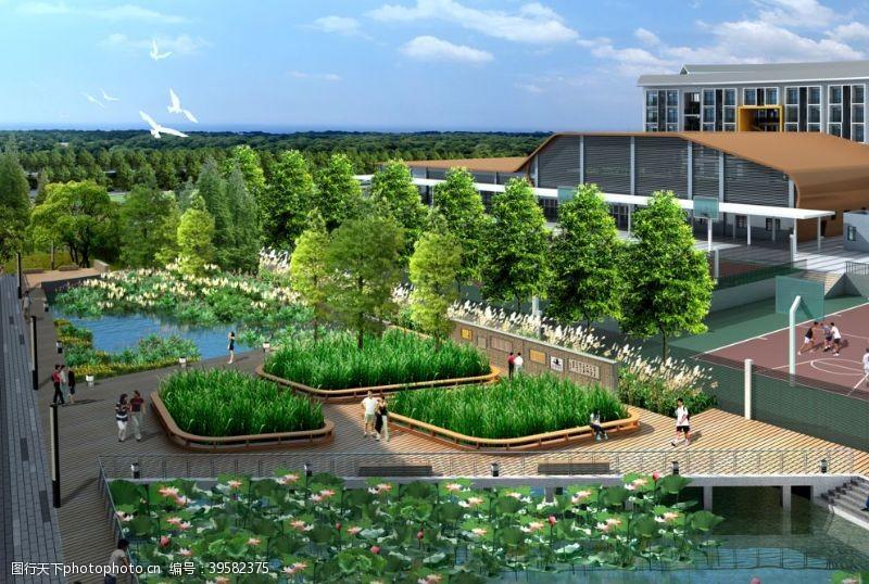 ps素材设计湿地景观效果图图片