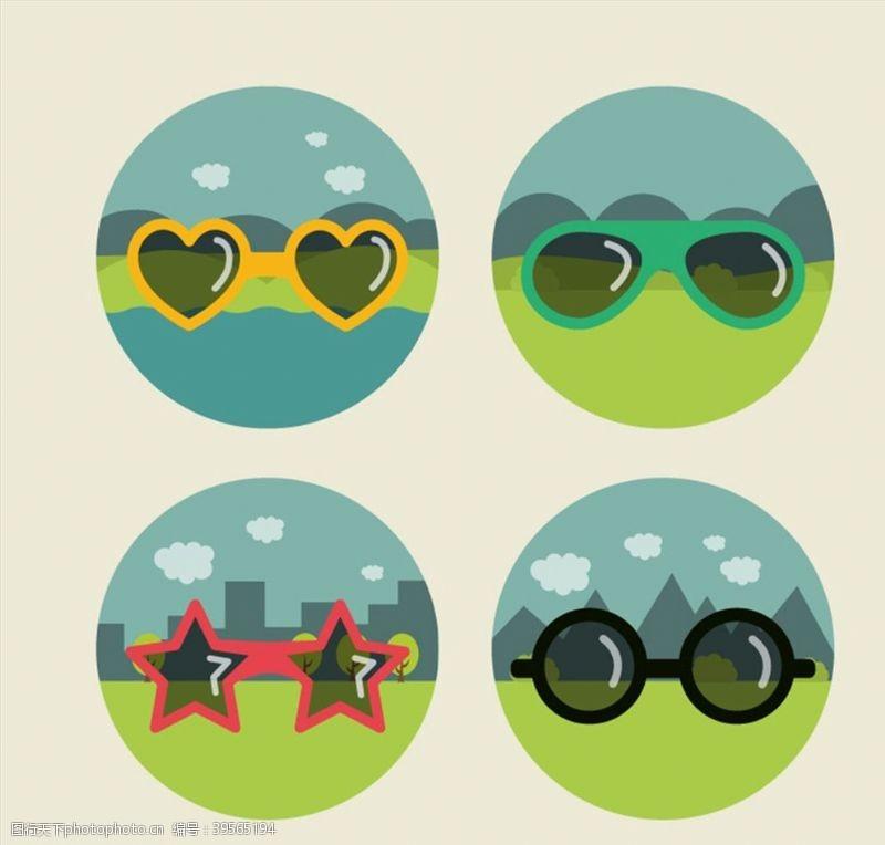 时尚眼镜与风景图片
