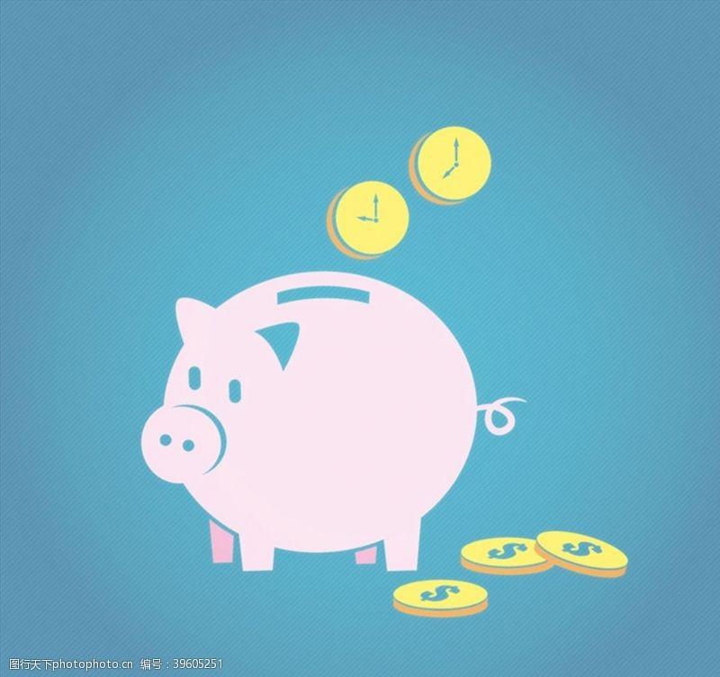美元符号粉色猪储蓄罐图片