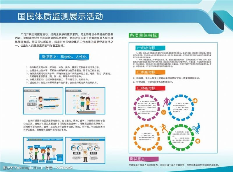 体育展板国民体质监测健康图片