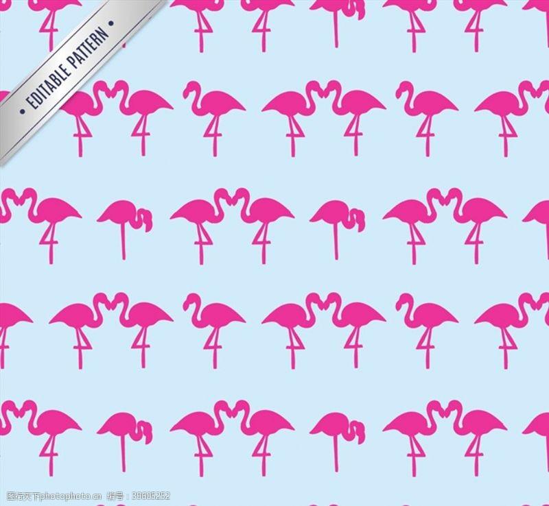 粉色火烈鸟火烈鸟无缝背景图片