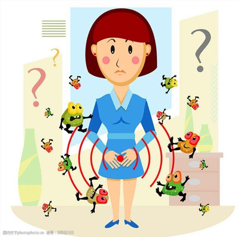 微生物卡通女性与病毒图片
