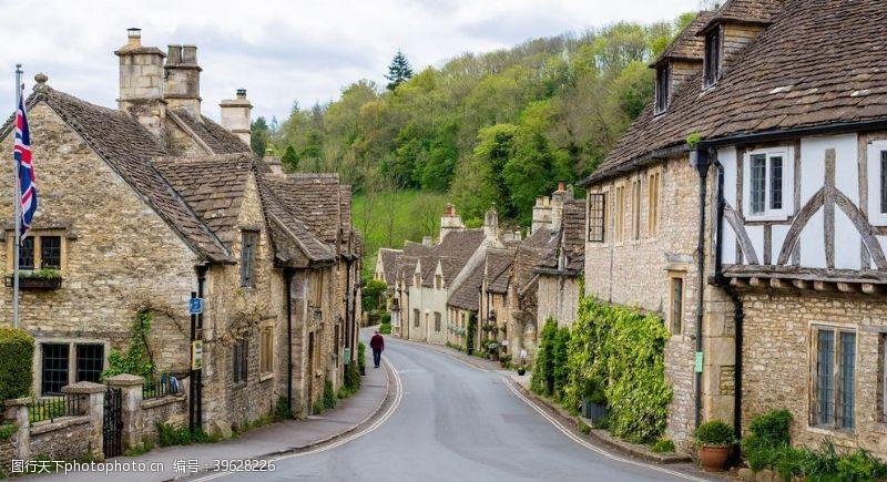 温馨图片科姆堡村英格兰房屋道路图片