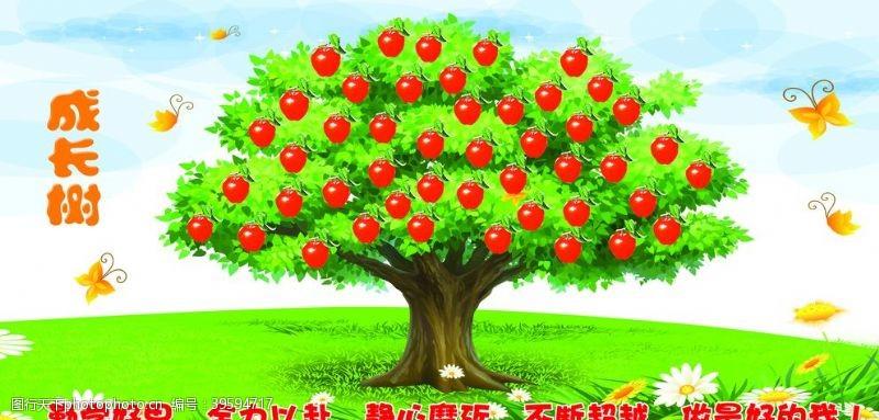 班级展板成长树图片