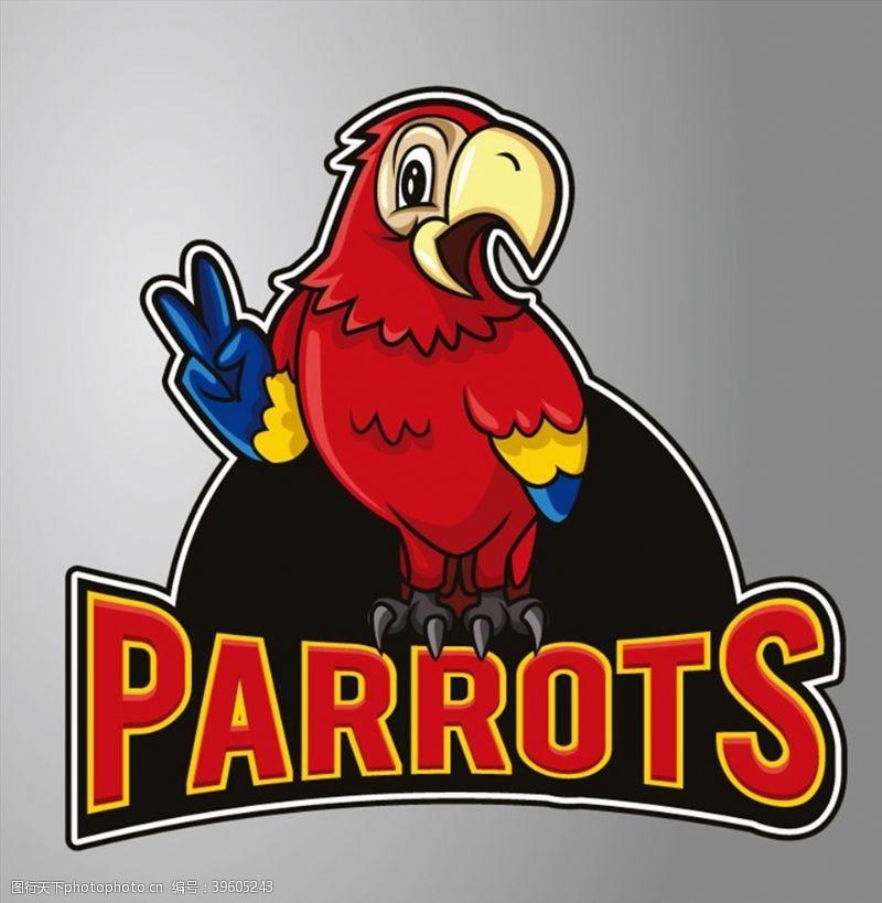 胜利手势卡通鹦鹉标志图片